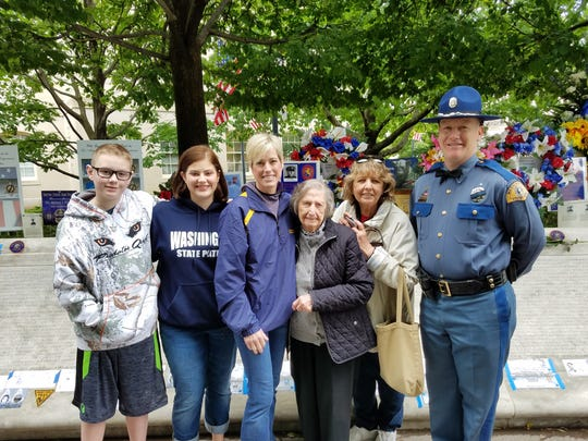 Marcelle Gorman, 96, of Green Brook attended the May 11-17 Police Week in Washington, D.C., to honor her father, Vernon G. Fortin, who was killed in the line of duty in 1923 in Washington state. She met with Washington State Highway Patrol  Trooper Michael  Cheek and his wife, Karrie, as well as Lisa, Emily and Kevin Hanger, the family of Trooper Brent Hanger, the most recent Washington state trooper to die on the line of duty.