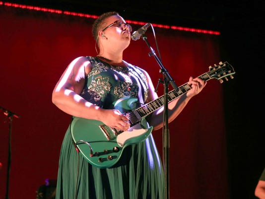Brittany Howard with Alabama Shakes performs at Verizon Wireless Amphitheatre at Encore Park on Friday, August 21, 2015, in Atlanta.