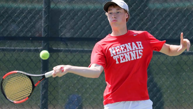 Neenah High School's Graham Werner, doubles, during the Fox Valley Association boys tennis conference tournament on Friday, May 18, 2018 in Neenah, Wis. Wm. Glasheen/USA TODAY NETWORK-Wisconsin