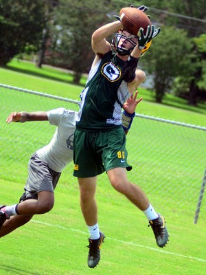 Gallatin High senior wide receiver Matthew Knight makes a catch in the end zone against Fort Campbell (Ky.) during Thursday's 7-on-7 passing tournament at Mt. Juliet Christian Academy.