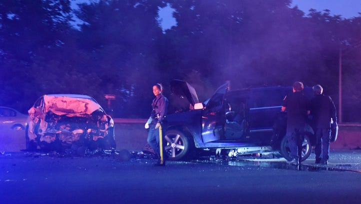 The scene where a person was killed in a two-car accident