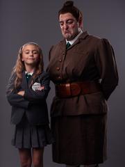 "Lydia Ricks, left, as Matilda, and Matt Ban as Miss Trunchbull in Tuacahn's production of ""Matilda the Musical"""