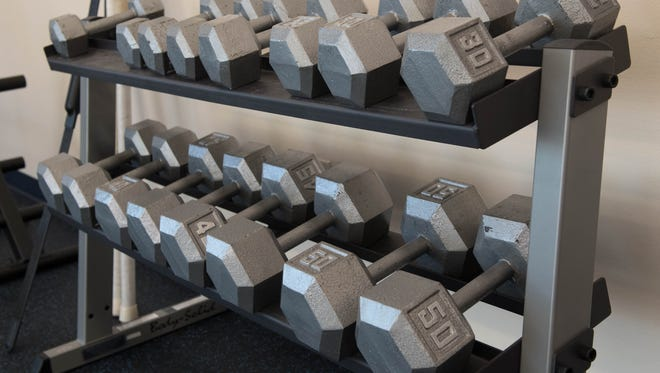 Dumbells at Athletico Physical Therapy in Marshall on Tuesday.