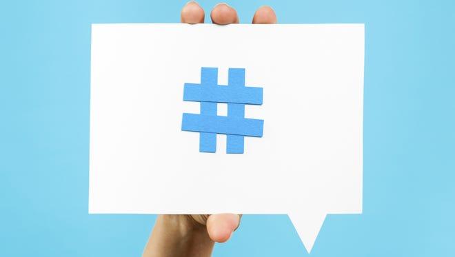 Hashtag on a board