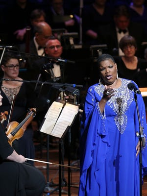 Angela Brown performs during the MLK50 Luminary Awards Concert at Cannon Center for the Performing Arts Monday, April 2, 2018, in Memphis, Tenn.