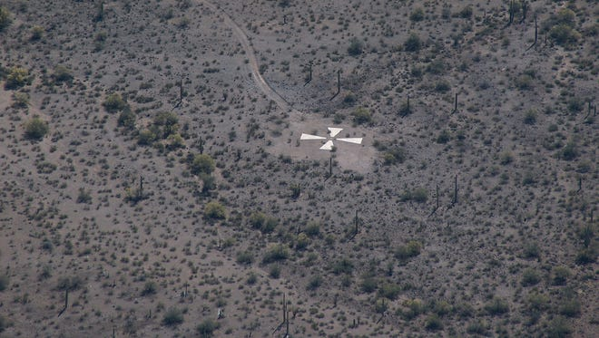 A calibration target stands out from the desert scenery.