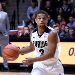 Nov 28, 2015; West Lafayette, IN, USA; Purdue Boilermakers guard P.J. Thompson (3) looks to pass against the Lehigh Mountain Hawks in the first half at Mackey Arena. Mandatory Credit: Sandra Dukes-USA TODAY Sports