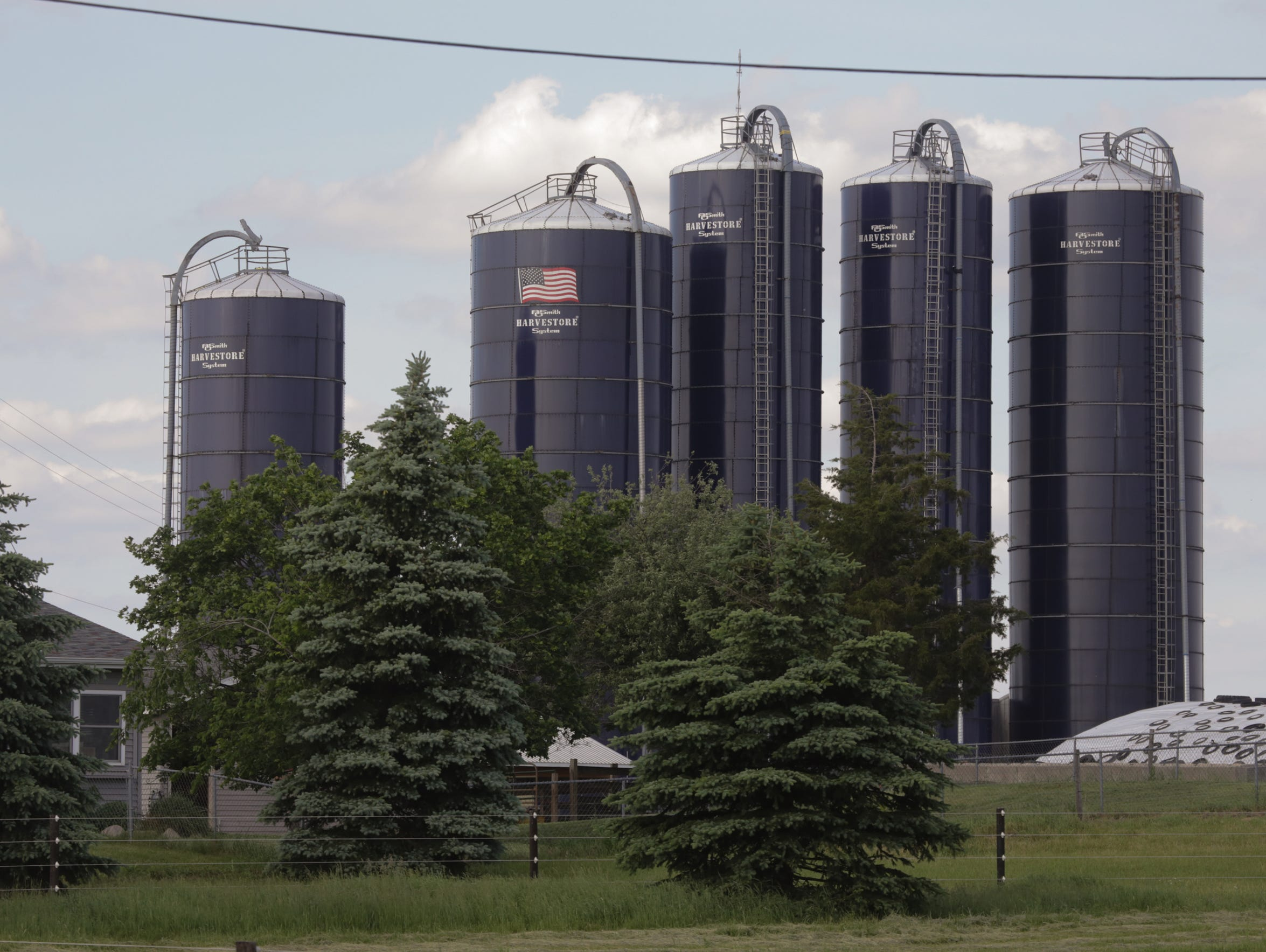 Silos at the Yankee Spring Dairy in Middleville, Mich.,
