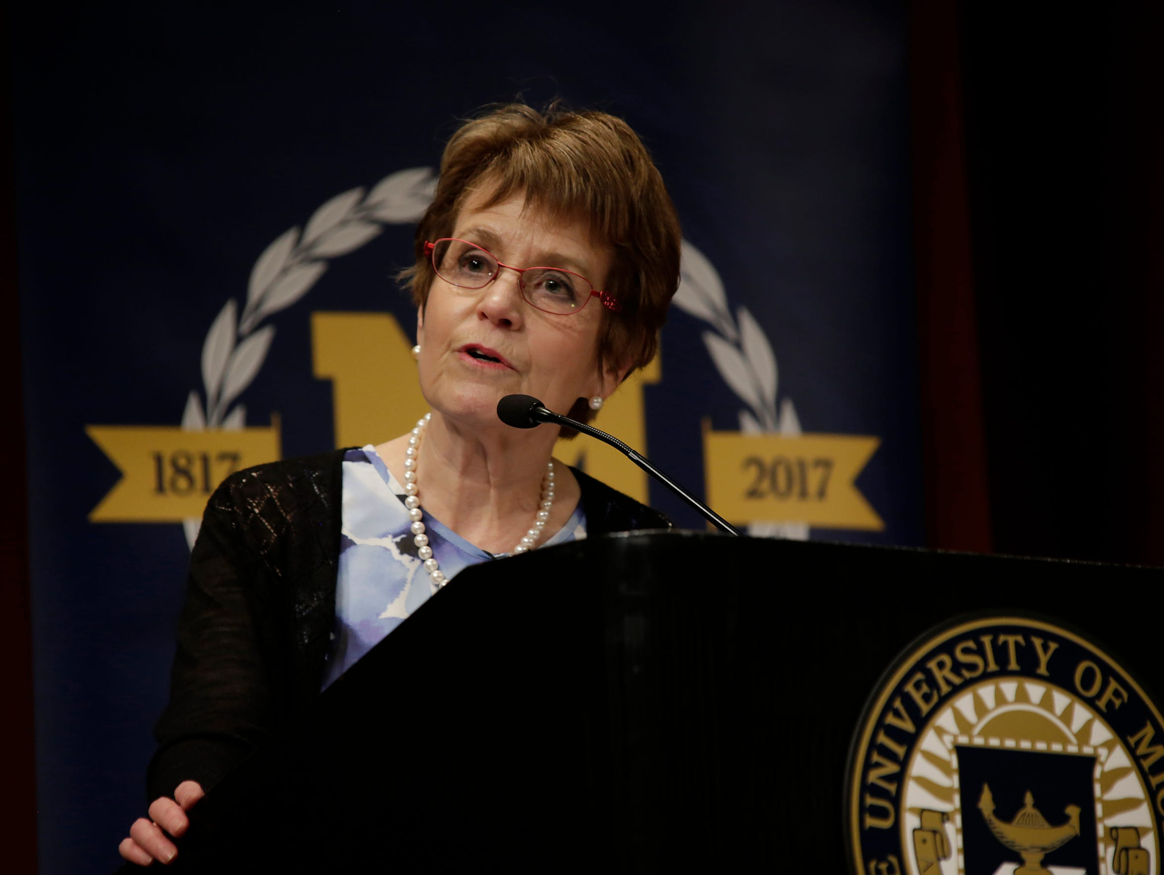 Former University of Michigan President Mary Sue Coleman speaks during a program at Rackham Auditorium in Ann Arbor on Thursday,  April 6, 2017.
