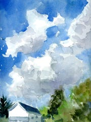 """Eleanor Eick's """"Sky"""" watercolor was painted """"en plein air."""" She is a member of the Musconetcong Watercolor Group."""
