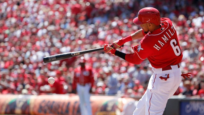 Cincinnati Reds center fielder Billy Hamilton (6) doubles in the first inning during the game against the St. Louis Cardinals, Sunday