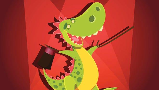 Happy cute cartoon dinosaur onstage