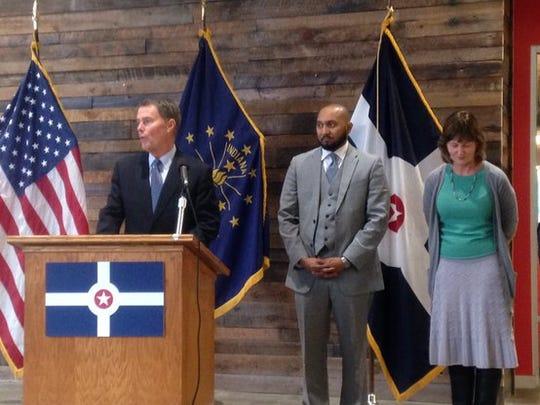 Mayor-elect Joe Hogsett (far left) is seen with his new appointees announced Thursday, including the Rev. David Hampton and former Lt. Gov. Kathy Davis.