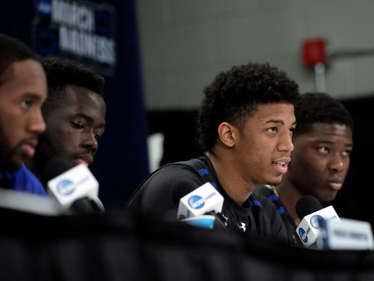 Seton Hall forward Desi Rodriguez, second from right,