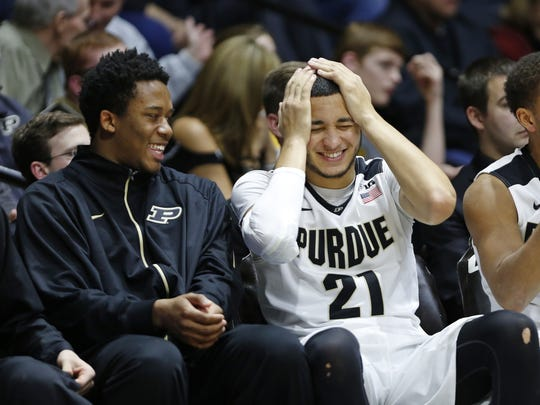 Basil Smotherman (left) shares a laugh on the bench last season with former Purdue guard Kendall Stephens. Smotherman will be a junior this season after using a redshirt in 2015-16.