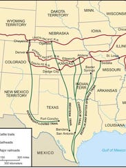 A map of 19th century cattle trails.