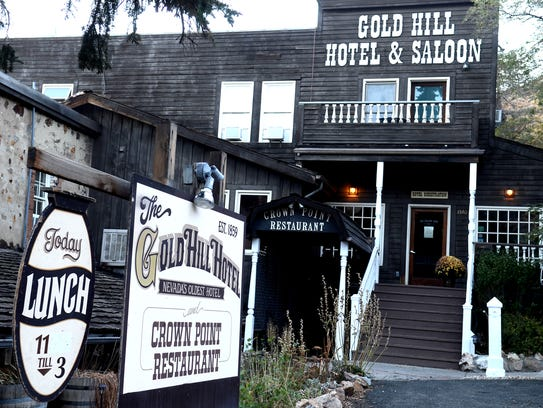 A view of the outside of the Gold Hill Hotel taken