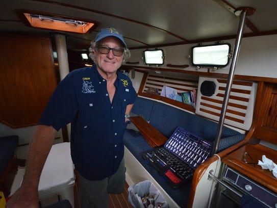 Capt. Boylan below decks with gear yet to be stowed.