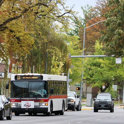 Cherriots buses transport passengers from downtown Salem on Friday, Oct. 9, 2015.