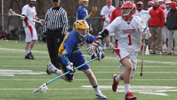 North Rockland's Dylan Senatore is pressured by Mahopac's