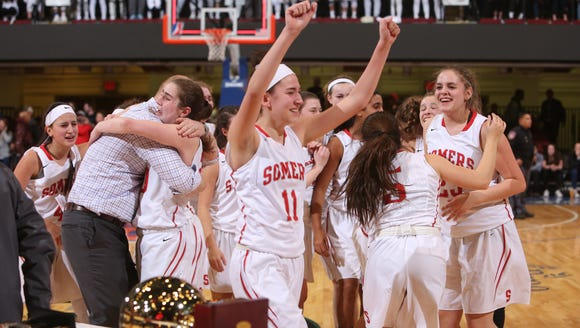 Somers defeated Eastchester 49-48 to win the  Section