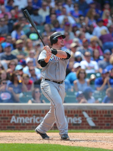 Miami Marlins first baseman Justin Bour (48) watches