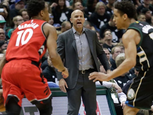 Milwaukee Bucks head coach Jason Kidd yells during the second half of game 3 of their NBA first-round playoff series basketball game against the Toronto Raptors Thursday, April 20, 2017, in Milwaukee. The Bucks won 106-77. (AP Photo/Morry Gash)