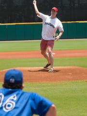 Rob Norton throws out the first pitch Sunday, June 17, 2018 at Blue Wahoos Stadium. Norton is the Pensacola Blue Wahoos 2 Millionth fan.