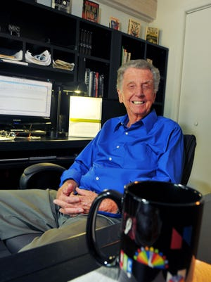 NBC TV space correspondent Jay Barbree in his Merritt Island home in 2014. Barbree died Friday at the age of 87.