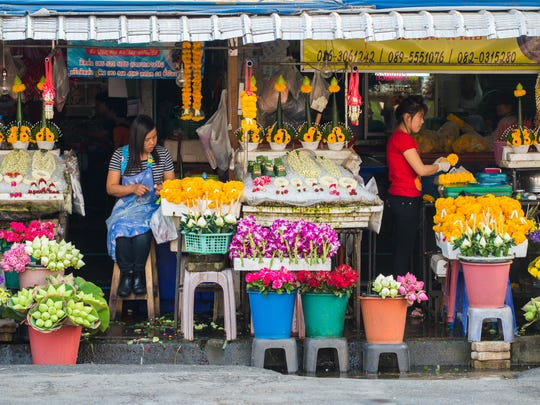 The Bangkok Flower Market is open 24 hours a day.