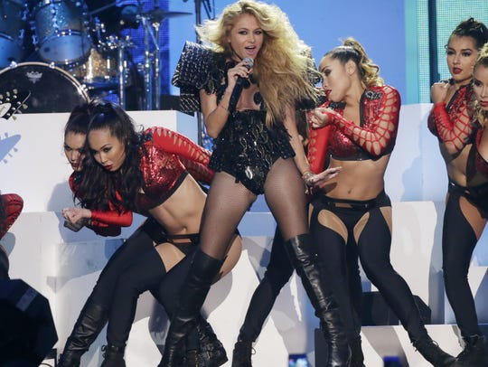 Paulina Rubio performs in concert.