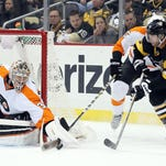 Steve Mason and the Flyers are hoping to get closer to a playoff spot Sunday in Pittsburgh.