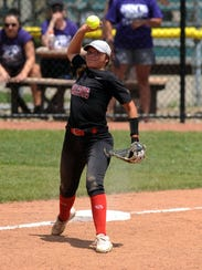Fairfield Union's Brittny Ogg throws to first base during Thursday's game, May 31, 2018, at Firestone Stadium in Akron. The Falcons lost the Division II state semifinal 1-0.