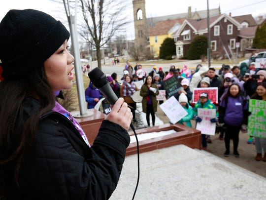 "Organizer Gaoia Xiong makes a speech during a youth-led rally ""A Hate Crime Is A Crime"" Saturday, March 18, 2017, at the Portage County Courthouse in Stevens Point, Wisconsin."
