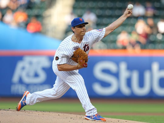 New York Mets starting pitcher Jason Vargas (40) pitches against the Baltimore Orioles during the first inning at Citi Field.