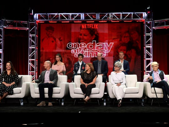 The cast  and creators of 'One Day at a Time' onstage during Netflix TCA 2018.