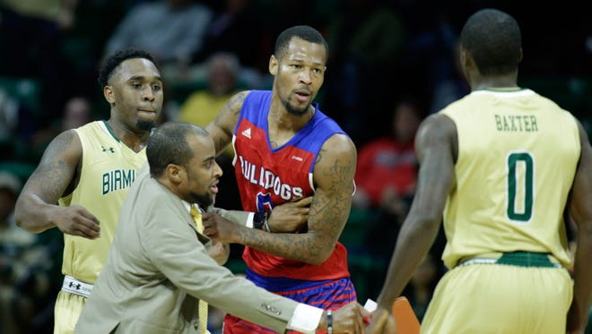 Louisiana Tech guard Jacobi Boykins (0) and UAB guard Hakeem Baxter (0) have both been suspended as a result of Thursday's fight during their game.