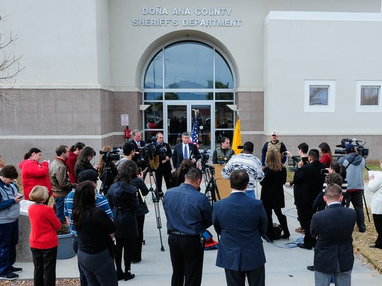 Doña Ana County Sheriff Enrique Vigil announces to the media on Dec. 8 that he had taken over command of the Doña Ana County Detention Center on Tuesday after the arrest of detention center director Chris Barela.
