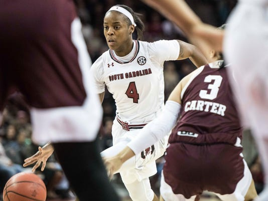South Carolina guard Doniyah Cliney (4) dribbles the ball against Texas A&M guard Chennedy Carter (3) during the first half of an NCAA college basketball game, Sunday, Dec. 31, 2017, in Columbia, S.C. (AP Photo/Sean Rayford)