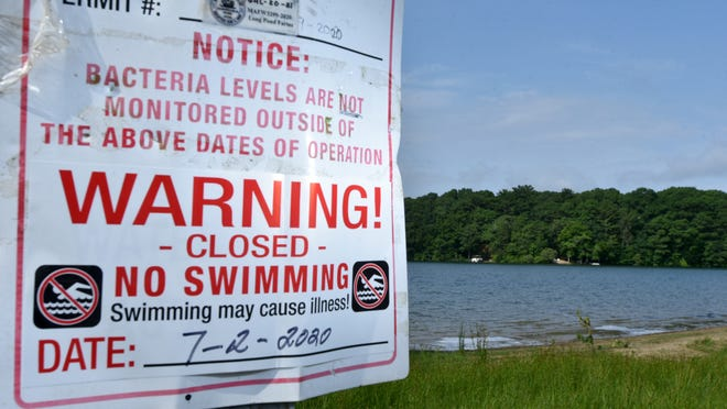 A sign warns away swimmers at the water's edge of Long Pond in Marstons Mills due to a cyanobacteria bloom.