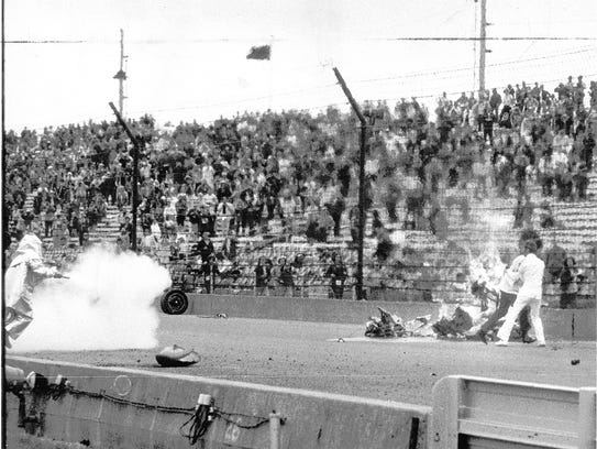 On May 30, 1973, the third and final day of the rain-delayed 500, Swede Savage smashed against the inside wall coming out of the fourth turn, showering debris into the air. He died from his injuries July 2.