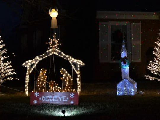 The nativity scene at third place home Corky Banks.