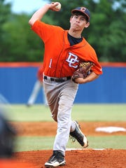 Peyton Arnold pitches for Dickson County High in 2014.