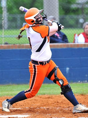 Paige Sensing swings at a pitch. Sensing was 2-for-3 with an RBI against Ravenwood.