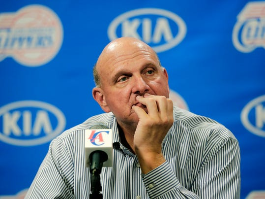 New Los Angeles Clippers owner Steve Ballmer listens to questions from the media during a news conference held after the Clippers Fan Festival on Monday, Aug. 18, 2014, in Los Angeles. Ballmer paid a record $2 billion for the team in a sale that was confirmed by a judge last week. (AP Photo/Jae C. Hong)