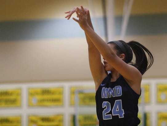 Mount Notre Dame guard Gabbie Marshall nails a 3-pointer