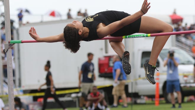 "Tiffany Bautista, of Paramus Catholic, won the high jump with this leap of 5'10"". Saturday, June 9, 2018"