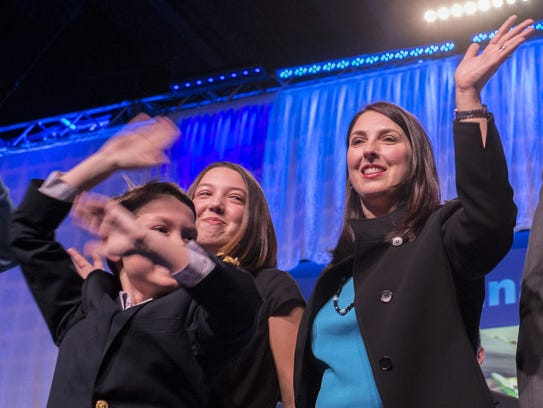 Ronna Romney-McDaniel, along with her two children