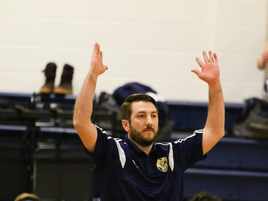 Jefferson head coach Marc Gaydos on the sidelines during a boys volleyball match at Jefferson  High School on April 6.