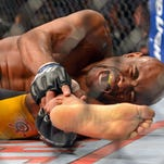Anderson Silva reacts after breaking his leg on a kick to Chris Weidman during their UFC middleweight championship bout at the MGM Grand Garden Arena. Anderson says he will be '100 percent' for his next fight against Nick Diaz.